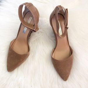 Audrey Brooke wedge D'Orsay heels ankle strap 9.5